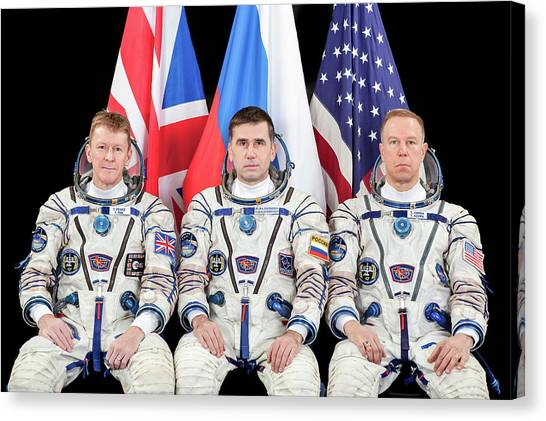 Astronauts Canvas Print - Iss Expedition 46 Crew by Nasa