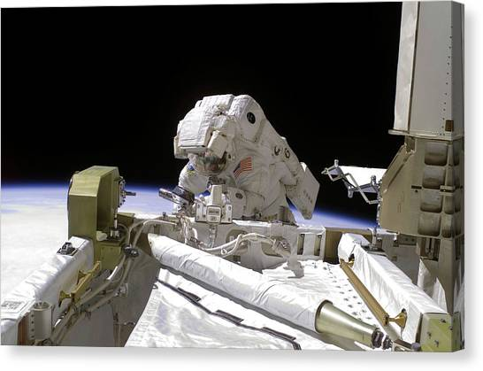 Emus Canvas Print - Iss Spacewalk by Nasa/science Photo Library