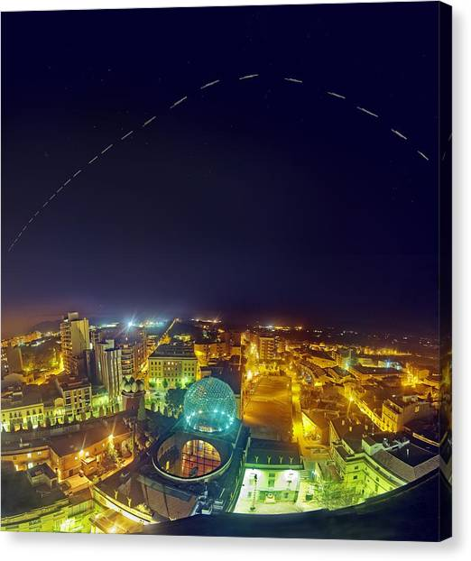 Salvador Dali Canvas Print - Iss Trail Over The Dali Museum by Juan Carlos Casado (starryearth.com)