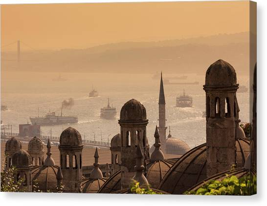 Suleymaniye Canvas Print - Istanbul, Turkey.  Golden Horn by Ken Welsh