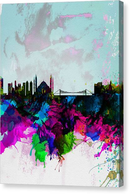 Turkeys Canvas Print - Istanbul Watercolor Skyline by Naxart Studio