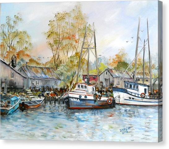 It Is A Busy Day Here At The Marina Canvas Print
