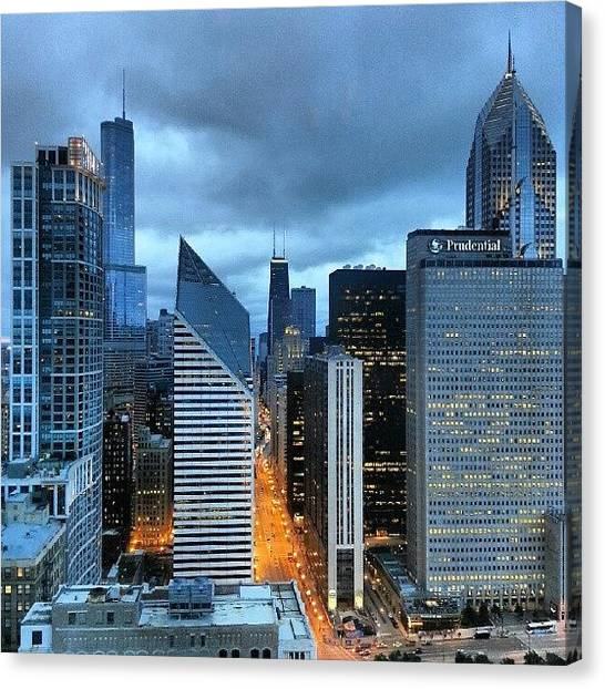 Chicago Canvas Print - It Was A Dark And Stormy Night by Jill Tuinier