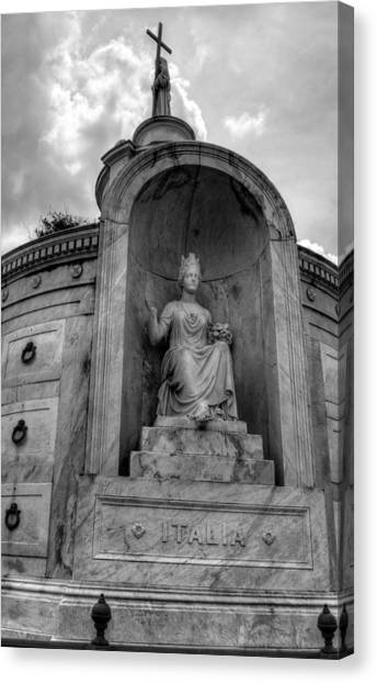 Italian  Benevolent Society Tomb In Black And White Canvas Print