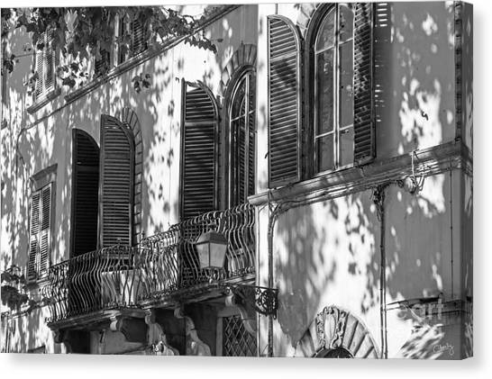 Italian Facade In Bw Canvas Print