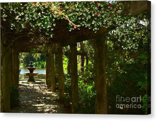 Italian Garden Pergola And Fountain Canvas Print