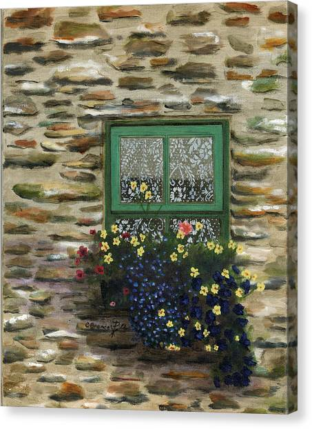 Italian Lace Window Box Canvas Print by Cecilia Brendel