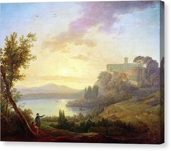 Lake Sunsets Canvas Print - Italian Landscape, Setting Sun by Jean-Francois Hue