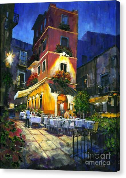 Artist Michael Swanson Canvas Print - Italian Nights by Michael Swanson