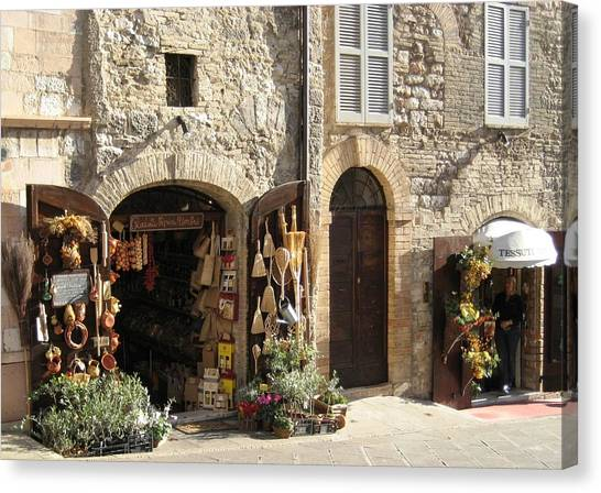 Italian Shops Canvas Print by Crow River North Photography