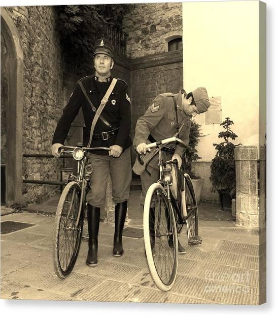 Italian Vintage Firemen Cyclists Canvas Print