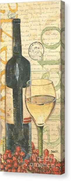 Red Wine Canvas Print - Italian Wine And Grapes 1 by Debbie DeWitt