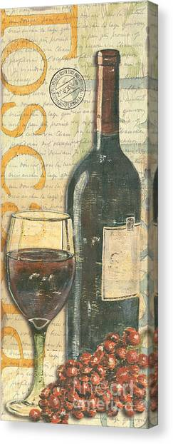 Red Wine Canvas Print - Italian Wine And Grapes by Debbie DeWitt