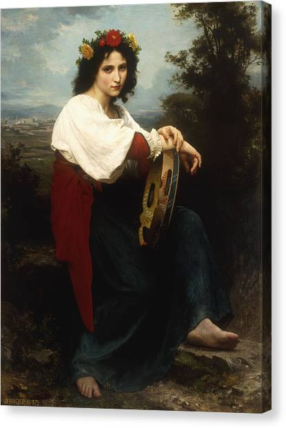 Tambourines Canvas Print - Italian Woman With A Tambourine by William Adolphe Bouguereau