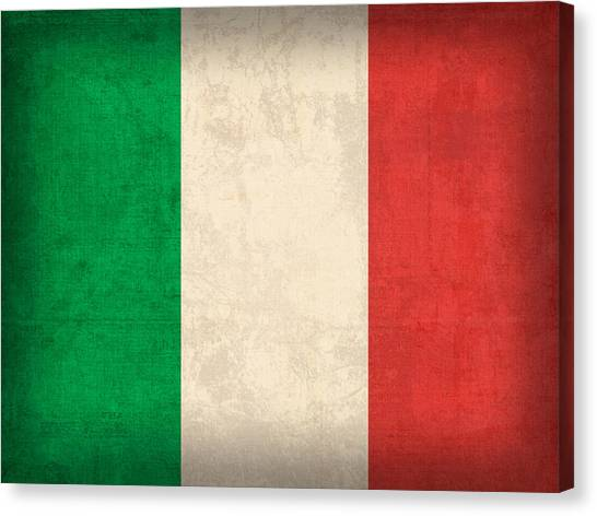 Flag Canvas Print - Italy Flag Vintage Distressed Finish by Design Turnpike