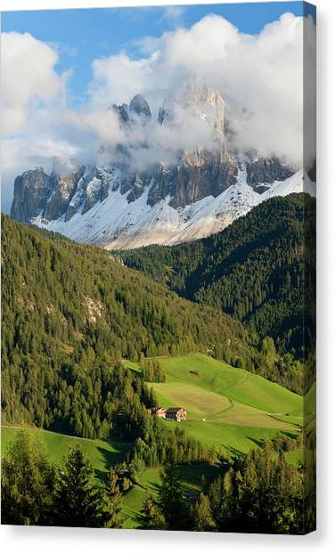 Dolomites Canvas Print - Italy, Near Bolzano, Val Di Funes, St by Peter Adams