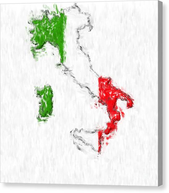 Italy Painted Flag Map Canvas Print