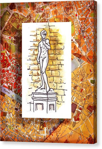 Michelangelo Canvas Print - Italy Sketches Michelangelo David by Irina Sztukowski