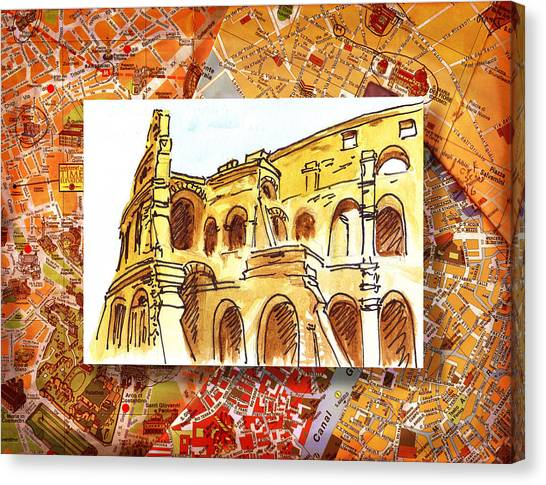 Rome Canvas Print - Italy Sketches Rome Colosseum Ruins by Irina Sztukowski