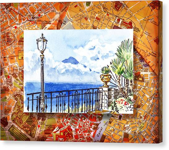 Italy Sketches Sorrento View On Volcano Vesuvius  Canvas Print