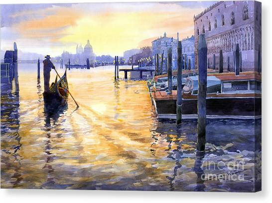 Town Canvas Print - Italy Venice Dawning by Yuriy Shevchuk