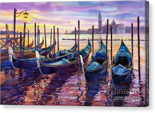 Boat Canvas Print - Italy Venice Early Mornings by Yuriy Shevchuk