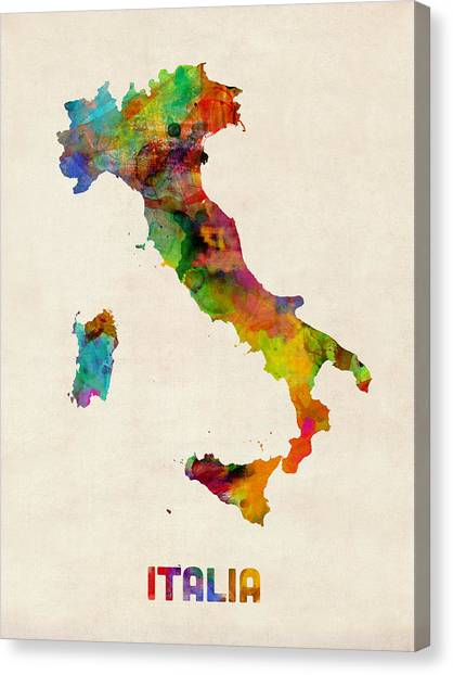 Map Canvas Print - Italy Watercolor Map Italia by Michael Tompsett