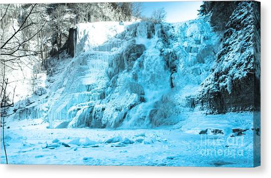Ithaca Falls In Winter Canvas Print