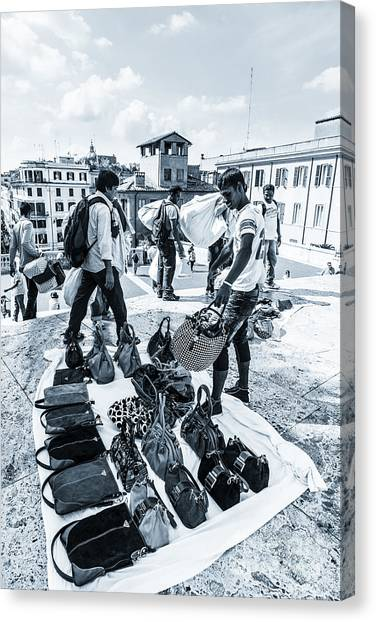 Itinerant Street Sellers Selling Fake Designer Goods Laid Out On Canvas Print