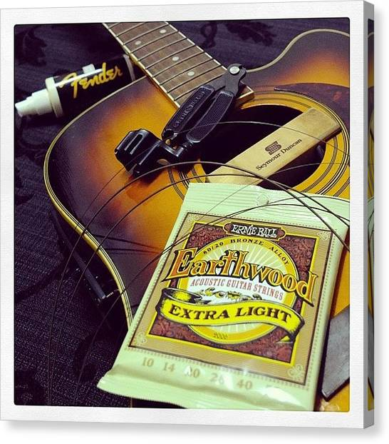 Guitar Picks Canvas Print - It's Been A While Since Her Last by Anderson Kalang