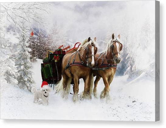 Draft Horses Canvas Print - A Christmas Wish by Shanina Conway