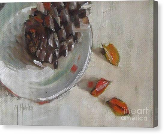 Pine Cone Still Life On A Plate Canvas Print