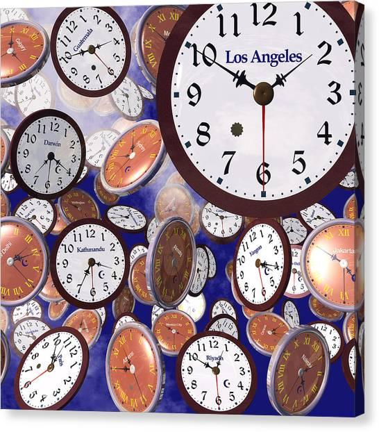 It's Raining Clocks - Los Angeles Canvas Print