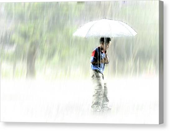 Canvas Print featuring the photograph It's Raining Outside by Heiko Koehrer-Wagner