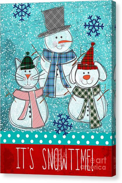 Snowflakes Canvas Print - It's Snowtime by Linda Woods