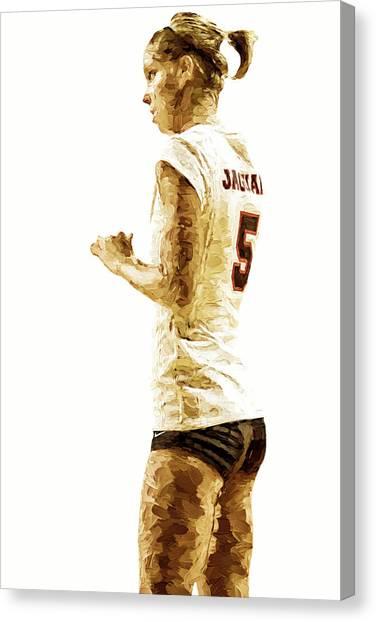 Indiana University Iu Canvas Print - Iupui Volleyball Athlete Dana Gardner Digitally Painted by David Haskett II