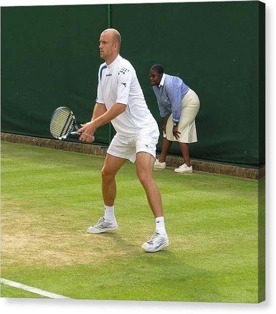 Tennis Players Canvas Print - Ivan Ljubičić Playing Grand Slam by Adriano La Naia