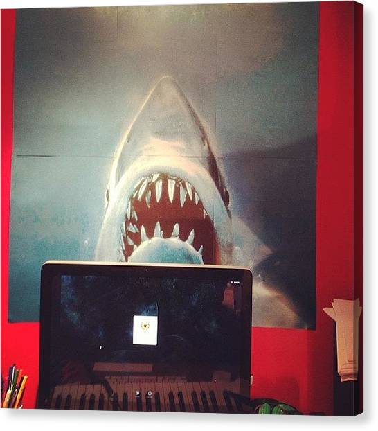 Jaws Canvas Print - I've Got Jaws To Protect My Work by Pauly Vella