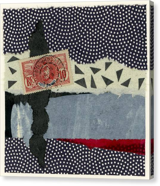 Torn Paper Collage Canvas Print - Ivory Coast 1936 by Carol Leigh