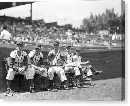 Braces Canvas Print - Chicago Cubs Bench by Retro Images Archive
