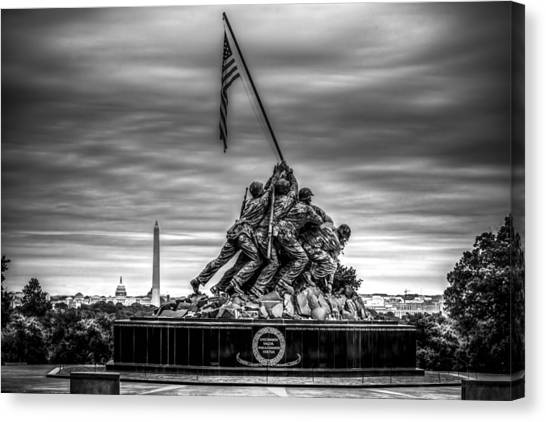 Iwo Jima Monument Black And White Canvas Print
