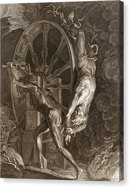 Centaurs Canvas Print - Ixion In Tartarus On The Wheel, 1731 by Bernard Picart