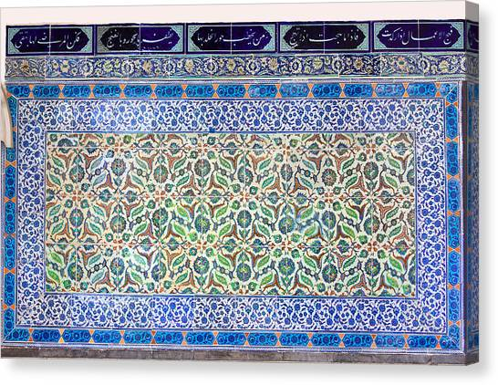 Iznik Ceramics With Floral Design Canvas Print