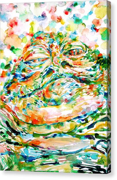 Jabba The Hutt Canvas Print - Jabba The Hutt Watercolor Portrait by Fabrizio Cassetta