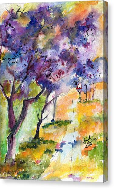 Jacaranda Trees Watercolor And Ink By Ginette Canvas Print