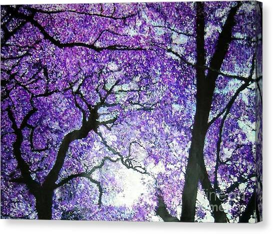 Jacarandas By The River Canvas Print