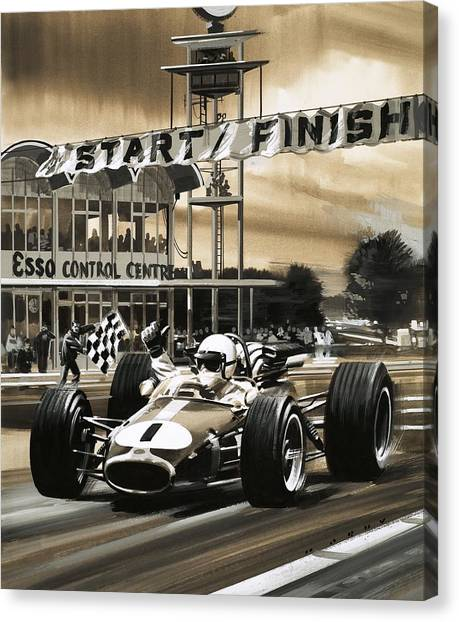 Finish Line Canvas Print - Jack Brabham Wins The First Ever Canadian Grand Prix by Wilf Hardy