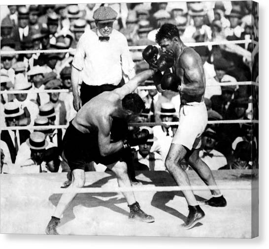 Boxing Canvas Print - Jack Dempsey Fights Tommy Gibbons by Everett