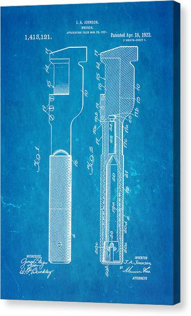 Wrenches Canvas Print - Jack Johnson Wrench Patent Art 1922 Blueprint by Ian Monk