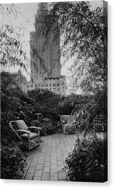 Weeping Willows Canvas Print - Jack Little's Garden In New York City by A E Boutrelle